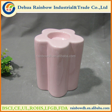 Pink flower shape home decorative tall ceramic candle holder
