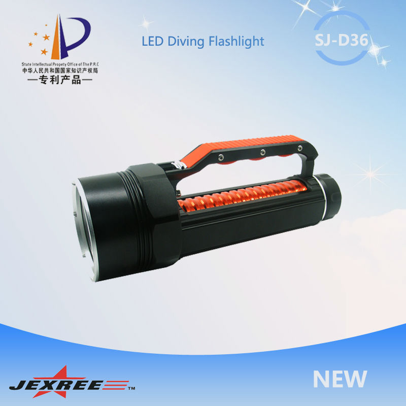 China Factory operate diving torch Jexree SJ-D035 60w 5000 lumen CREE XM-L2 led dive flashlight with 26650 battery