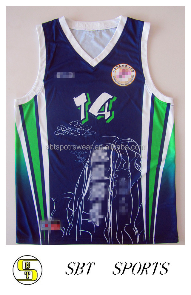 100% polyester sublimation printing best custom basketball jersey