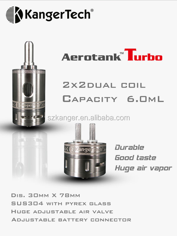 Latest Kanger Aerotank Turbo with 2x 2 dual coil 6ml capacity bbtank t1 vaporizer pen