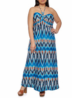 MIKA1009 Stripe long plus size boho dress
