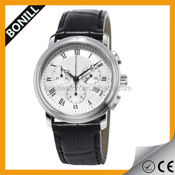 Bonill latest Men's Casual Watch Silver Black Chronograph
