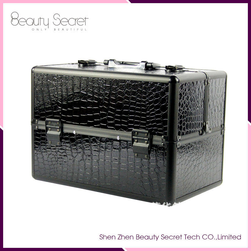 Black train case makeup toiletry bags for men