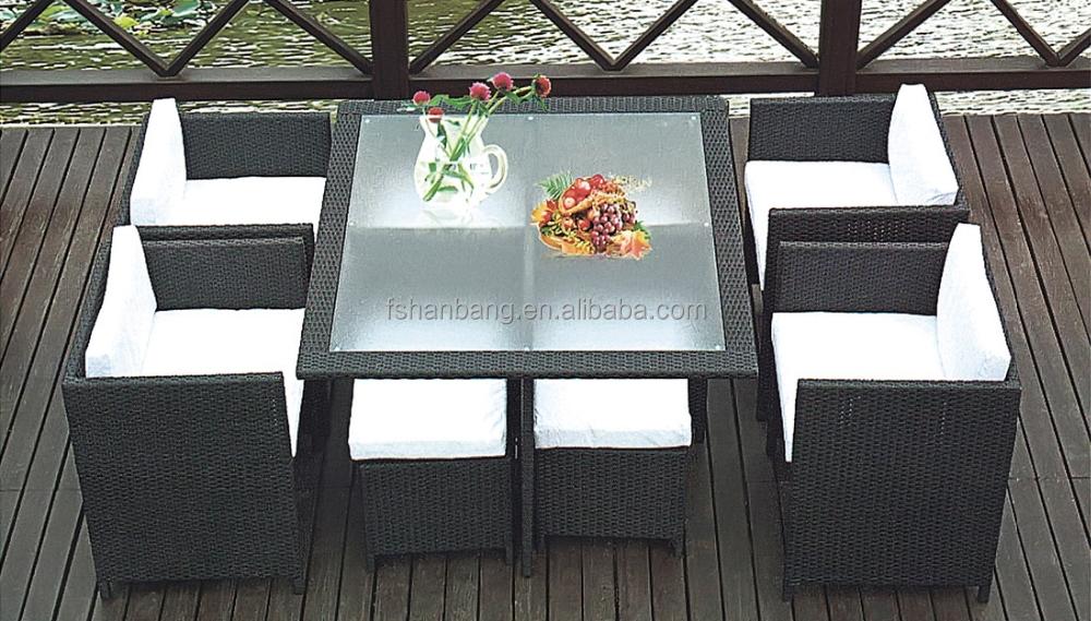 space saving garden rattan cube set table outdoor dining