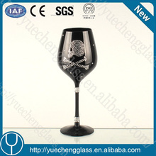 handcraft customized skull designed black wine glass for gift wholesale