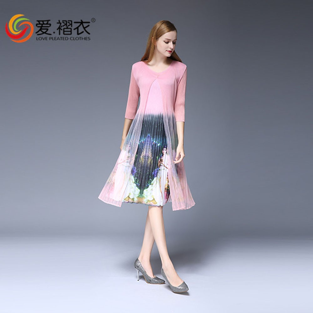 2017 High end clothing lady dress fashion Thailand rose print dress maxi