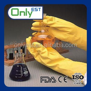 Household long sleeve chemical resistant light industry yellow latex glove