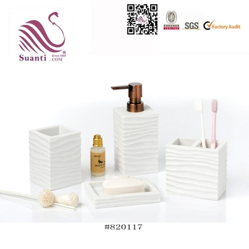 4 piece White Wave Effect Resin Bathroom Accessory Sets With Tumbler for Hotel or Home Decoration