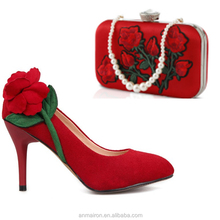 2017 bridal girls fashion big 3D rose pencil women high heel african shoe and bag sets