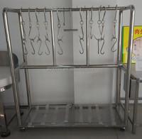 APEX supermarket butcher stainless steel trolley meat hanging rack/meat hanger/meat hanging equipment