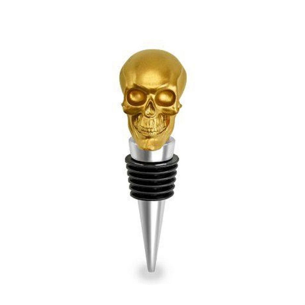 Resin Hand Painted Gold Skull Bottle Wine Stopper