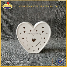 White Hanging Ornament Ceramic Heart Pendant Christmas Tree Decoration