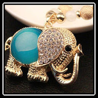 Fashion Jewelry Accessories Bohemia Long Design Vintage Gem Rhinestone Elephant Necklace Pendant