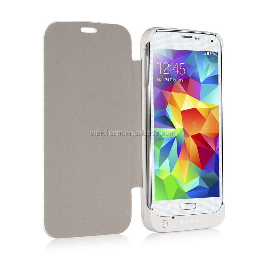 Paypal Accepted Power bank flip leather cover case for Samsung Galaxy S5