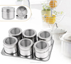 6 Pcs/Set Stainless Steel cruet set oil vinegar cruet set salt and pepper cruet condiment holder