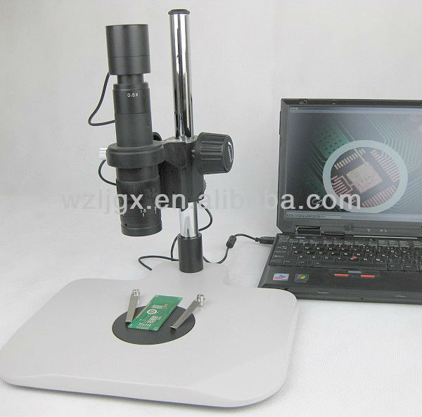 Ergonomics base plate stereo zoom PCB video inspection microscope