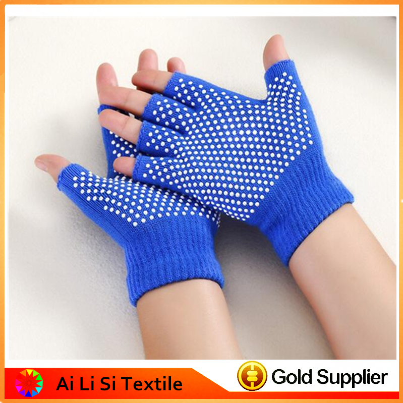 Knitted Acrylic Yoga Sporting Gloves with Slip-Free Texturizing Beads,Yoga Sport Gloves