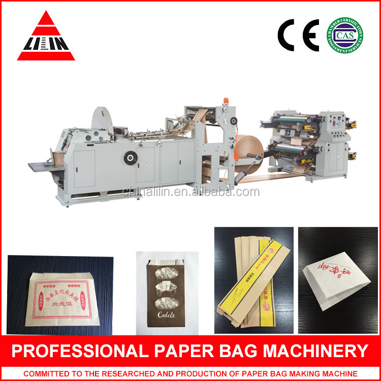 paper bag machine forming the paper bag in one process from roll paper, printing, edge folding, tube forming, cutting, gluing,