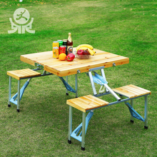 Modern portable travel outdoor camping wooden briefcase folding tables foldable picnic wood table and chair set