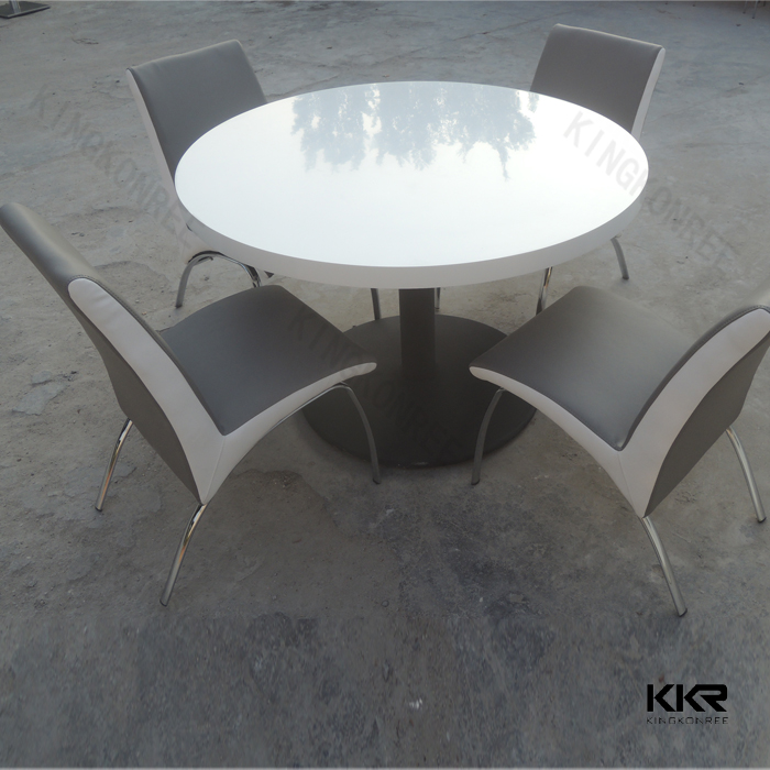 KKR acrylic solid surface round dinner table and chairs