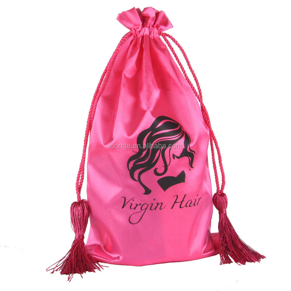 Custom pink satin hair weave extension bags for packing with drawstring and tassel