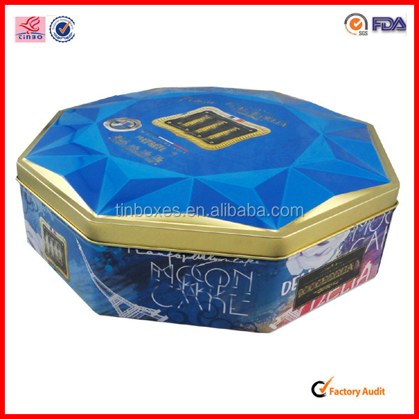 blue large tin can best sales sgs food round octangle tin box