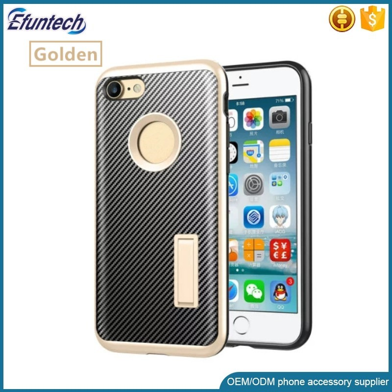 2017 Hot sale mobile phone accessory carbon fiber kickstand mobile phone case for iphone 6 6s case
