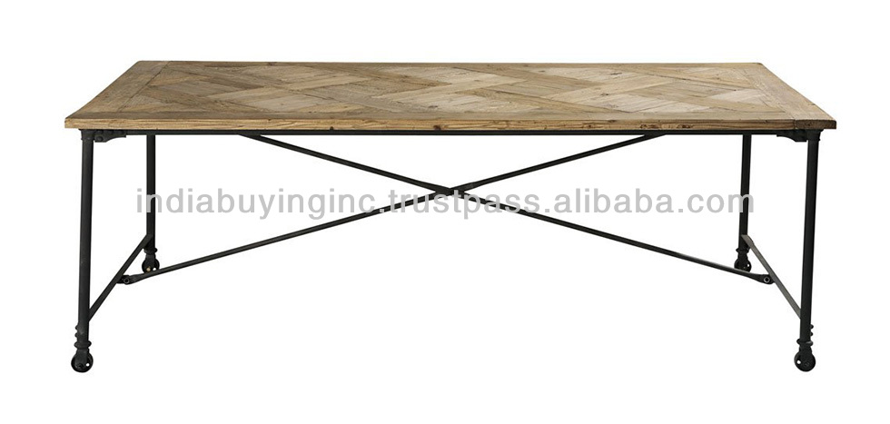 Industrial folding dining table with wood timber