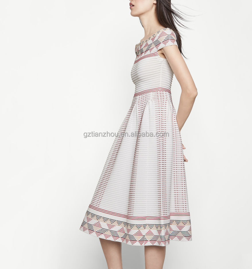 Guangzhou clothing OEM jacquard multicoloured wide bandeau neckline Mid-calf length Ridged knit women dress