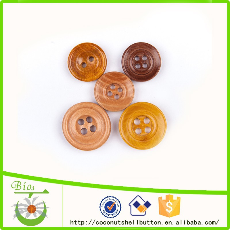 Different colors round shape custom mixed wooden buttons bulk