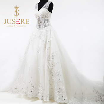 Newest Fashion Chapel Train A Line Crystal Beaded V Neckline Ivory Tulle Lace Up Wedding Dresses 2016