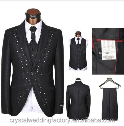 Five Pieces (Jackets+Pants+Vest+Tie+Handkerchief) Business Dress Fashion Slim Black Men Suit Wedding Bridegroom Suit CWF2429