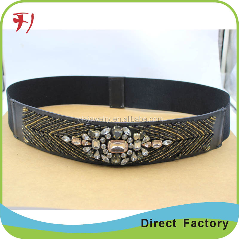 wholesale Handmade beaded crystal rhinestones applique belts for wedding dress