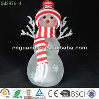 China red painted led christmas snowmen in santa hat