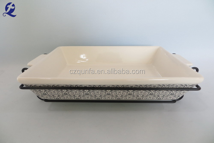 China factory ceramic large stock oven safe bakeware with iron stand