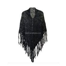 women Soft Crochet Solid Color fringe Shawl Scarf