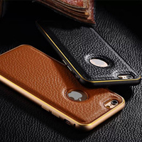 For Apple iphone 6 Leather Back Metal Bumper Frame Case Cover