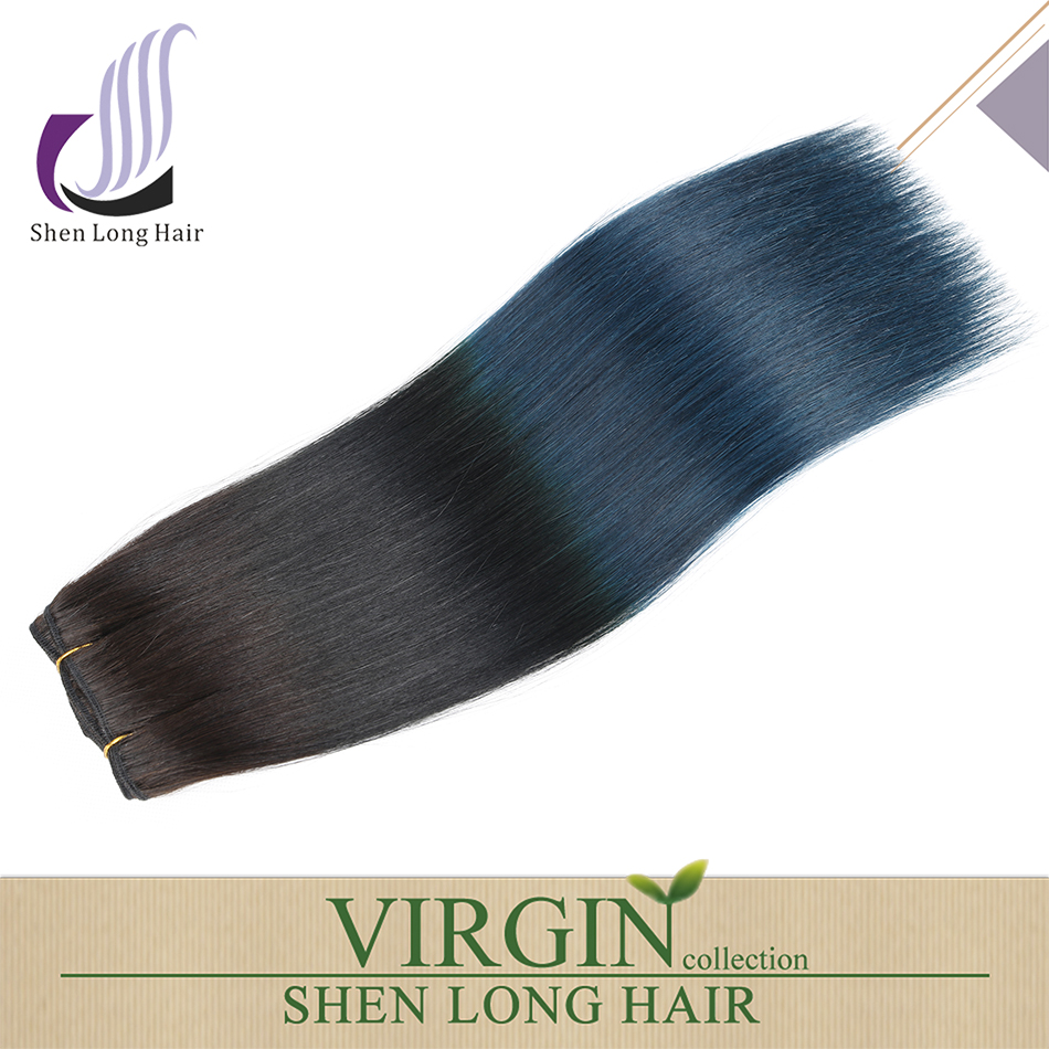 virgin remy ombre human hair 1b/blue hair extension two tone color ombre hair weave