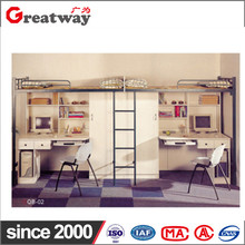 Factory supply high qualit metal simple rectangle space saving furniture metal steel adult wood bunk bed