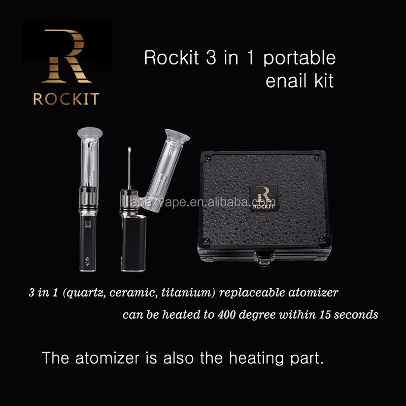 for 420 smoker Rockit 3 in 1 portable Erig kit dabber pen e nail coil water pipes glass smoking