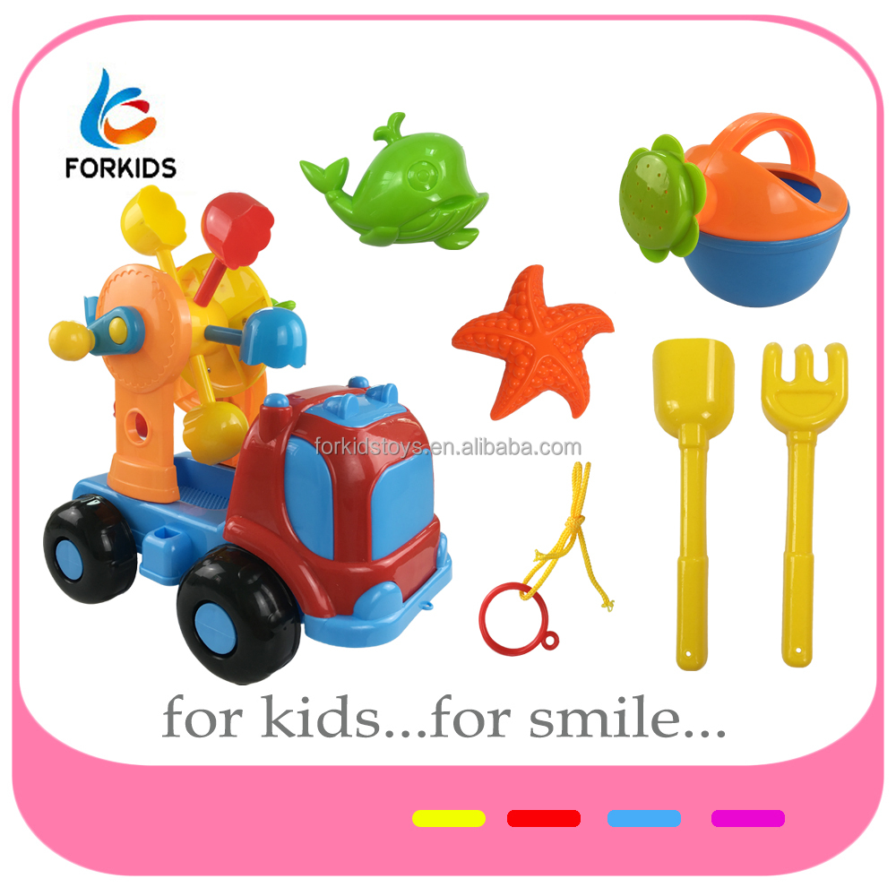 2017 New plastic wheel for sand,beach sprinkling can and sand tools toy,funny wheels for beach cart toys