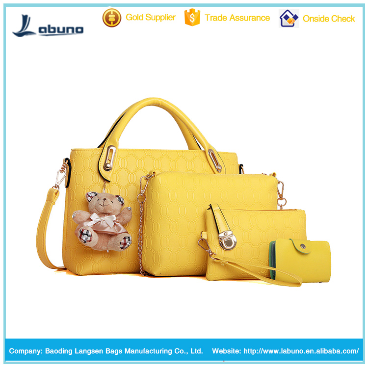 2015 tote pu leather bags woman handbags fashion pu handbag set