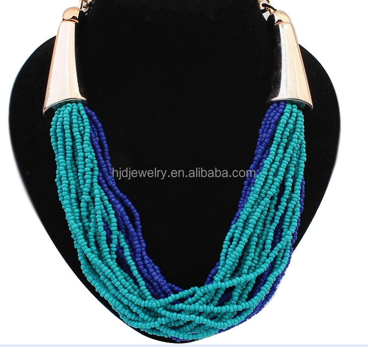 Fashion design hot sale handmade rice beaded necklace