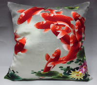 SPM025-Decorated pillow; Vintage Chinese embroidery silk square pillow; Hand silk embroidery pillow cushion cover