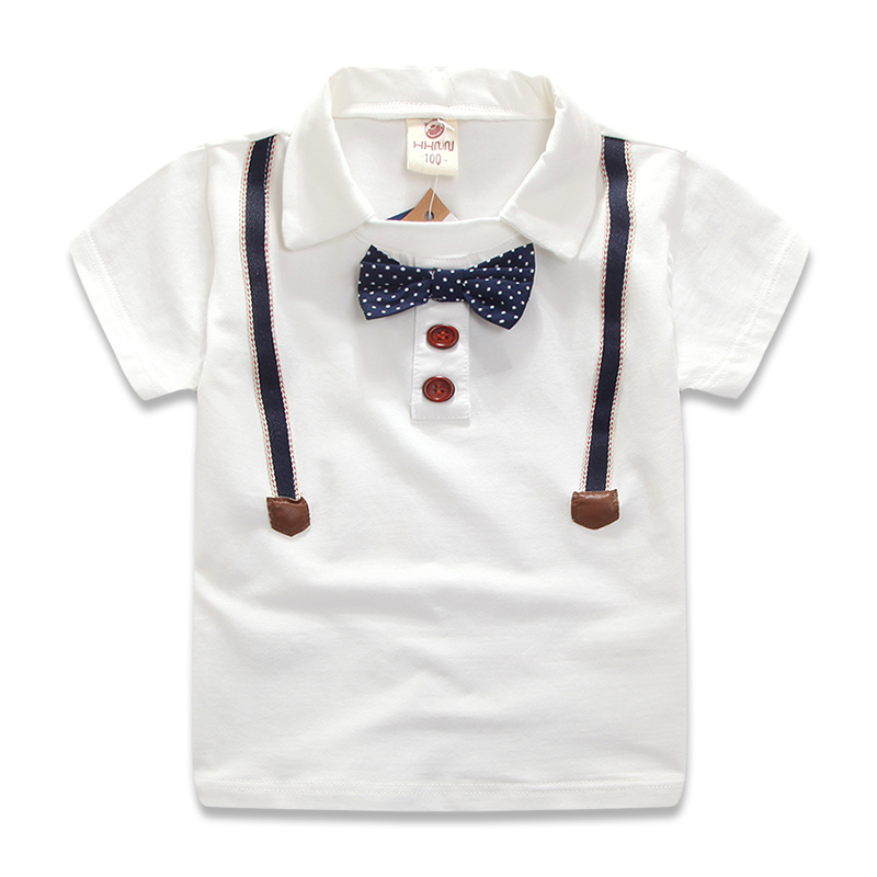 2015 New Summer Brand Kids T Shirt Boys Tops Short Sleeve Turn Down Collar With Bow Tie White Cotton Tee For Boy 2-7 Years