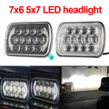 "7"" led headlight for jeep wrangler 7x6"" 5x7"" high low beam headlight with drl angel eyes"
