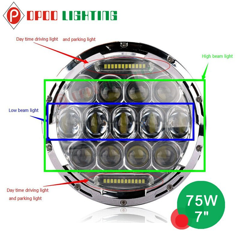 New listing 75w 7'' round led light accessori jeep grand cherokee