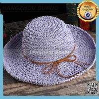 purple paper straw large brim folding straw cowboy hat for sale