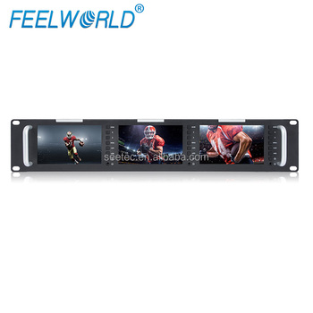 "Triple 5"" Monitor Rack Mount with Composite Video Input Output"