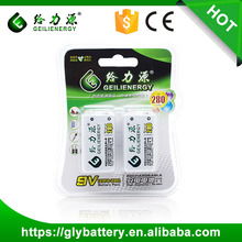 Ni-MH 9V 280mAh rechargeable battery pack with blister card packing